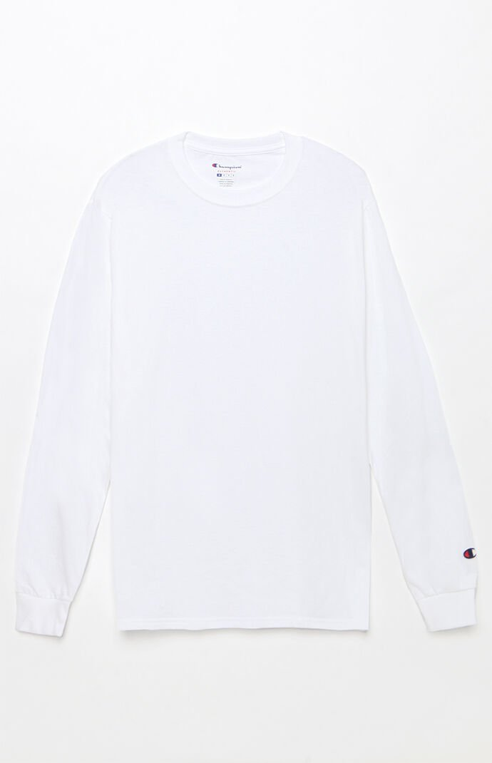 Champion Mens Cotton Long Sleeve T-Shirt - White 7287055