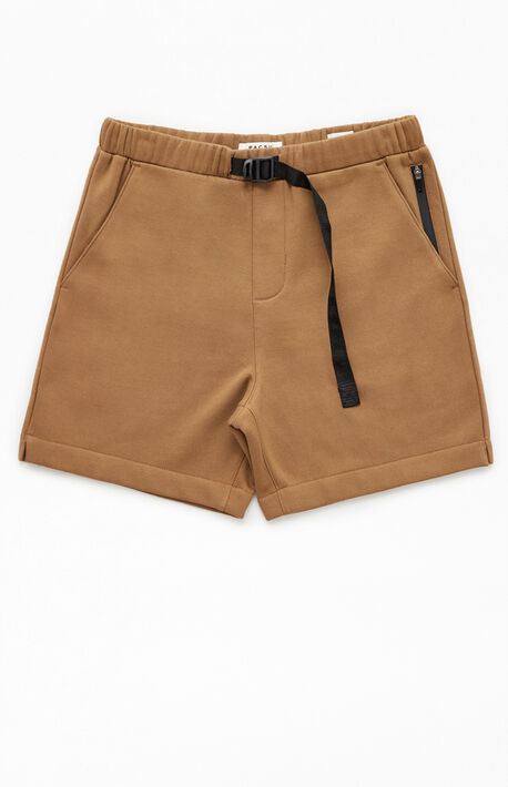 Brown Fleece Belted Volley Shorts