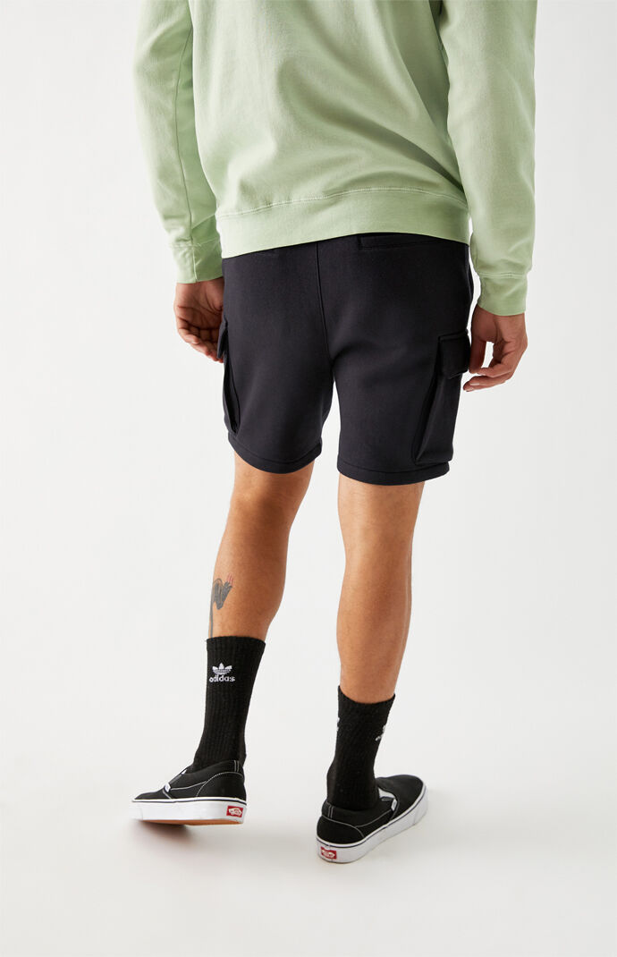Black Cargo Fleece Volley Shorts