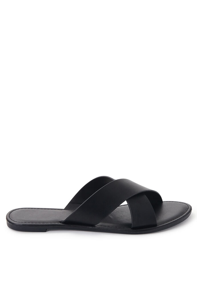 Solid Crisscross Slide Sandals