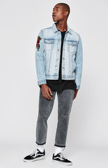 Slim Cropped Washed Black Jeans