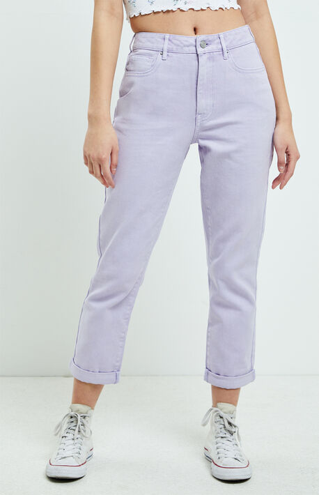 Purple Rolled Mom Jeans