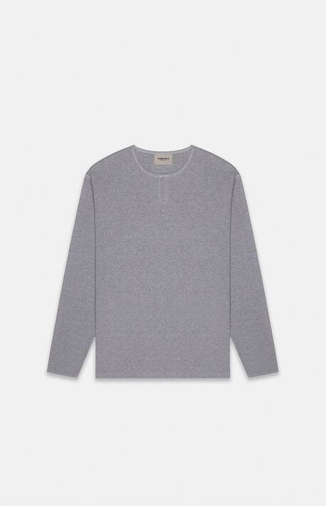 Essentials Dark Grey Heather Thermal Long Sleeve Henley T-Shirt