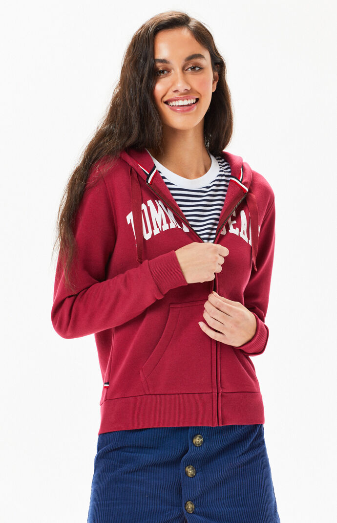 Tommy Jeans Womens Logo Zip Up Hoodie - Red 8294381