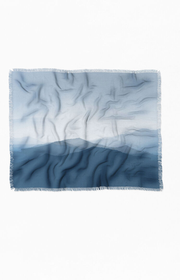 Hazy Morning Blues Woven Throw Blanket