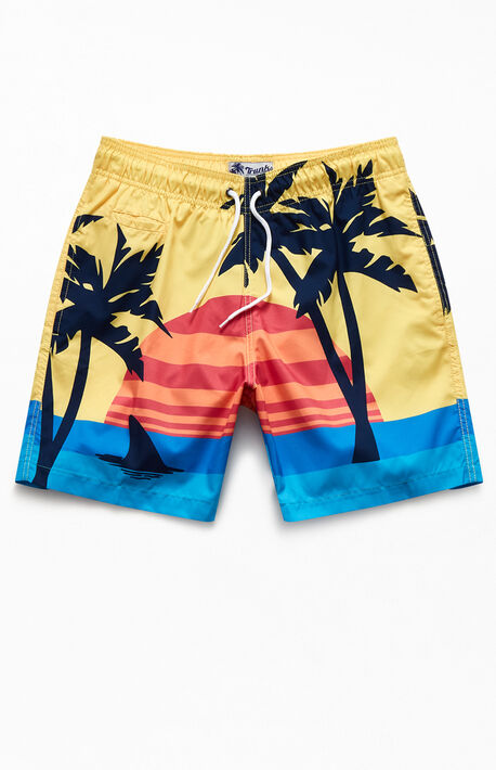"Retro Sunset Beach 17"" Swim Trunks"