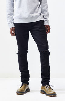 Stacked Skinny Comfort Stretch Destroy Black Jeans