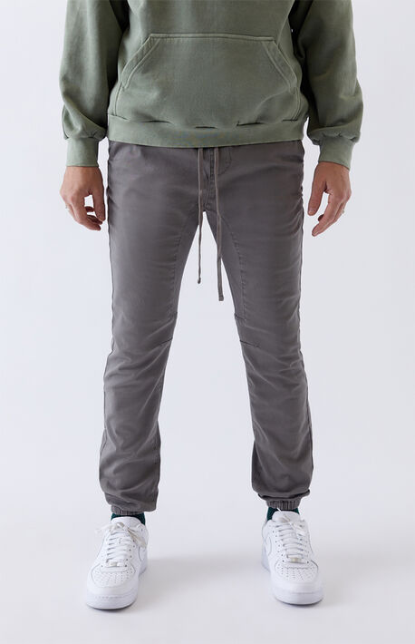 Gray Classic Twill Jogger Pants