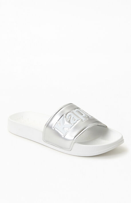 White & Silver 222 Banda Adam 9 Slide Sandals