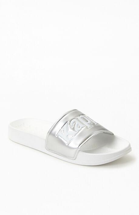 White & Silver 222 Banda Adam 9 Slide Sandals
