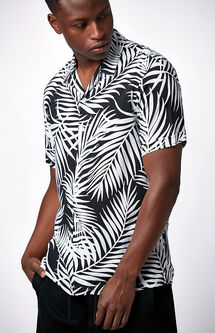Palmy Hand Short Sleeve Button Up Camp Shirt