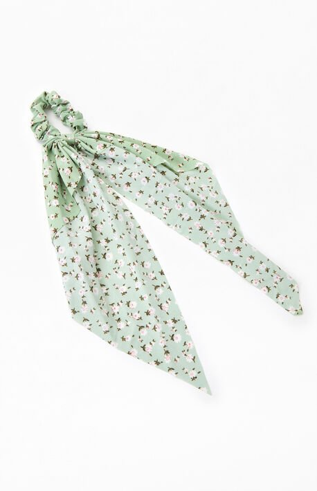 Green Floral Flowy Scrunchie