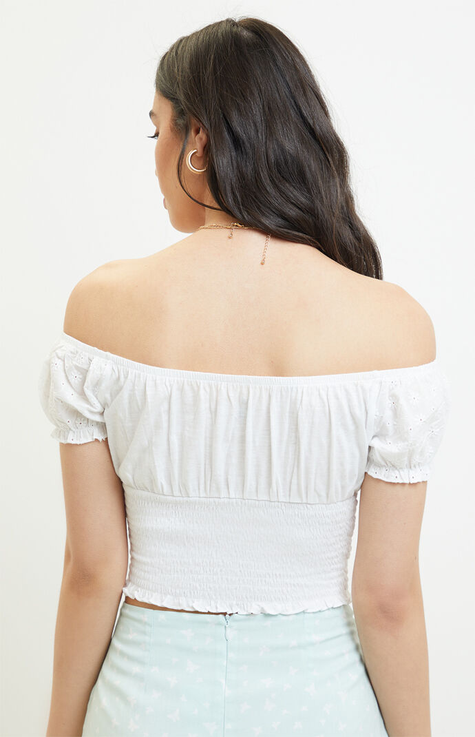 Eyelet Primrose Off-The-Shoulder Top