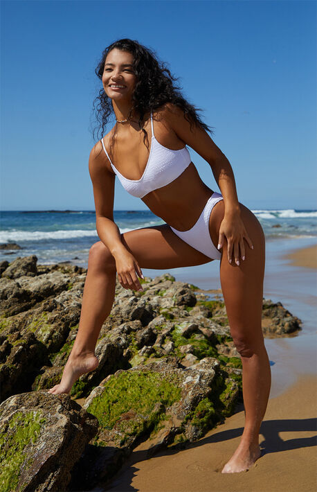 White Eden Scrunch Sweetheart Bikini Top