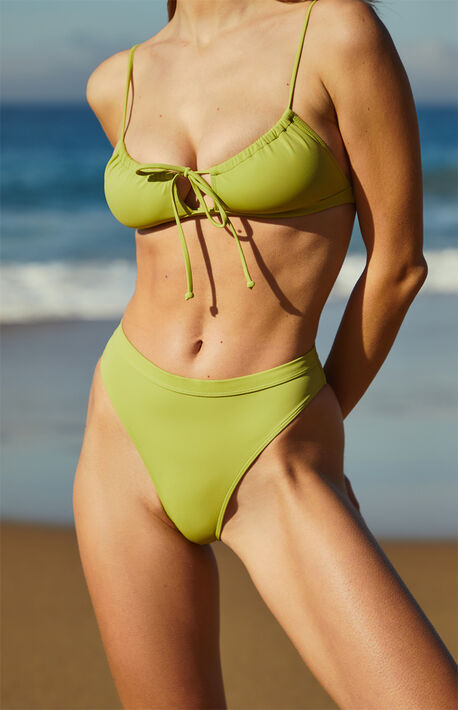 Green Augustina High Waisted Bikini Bottom