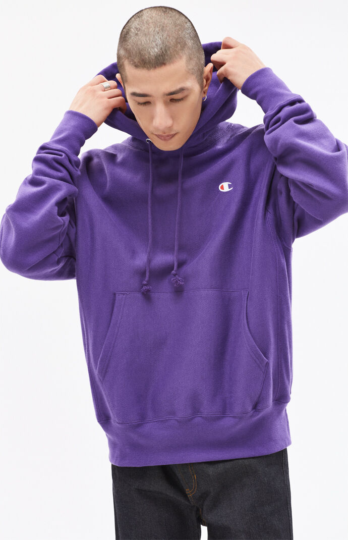 Champion Mens Mini C Reverse Weave Pullover Hoodie - Purple 6690705