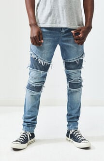 Stacked Skinny Comfort Stretch Moto Medium Jeans
