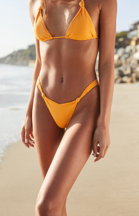 Orange Anna Knotted V Bikini Bottom