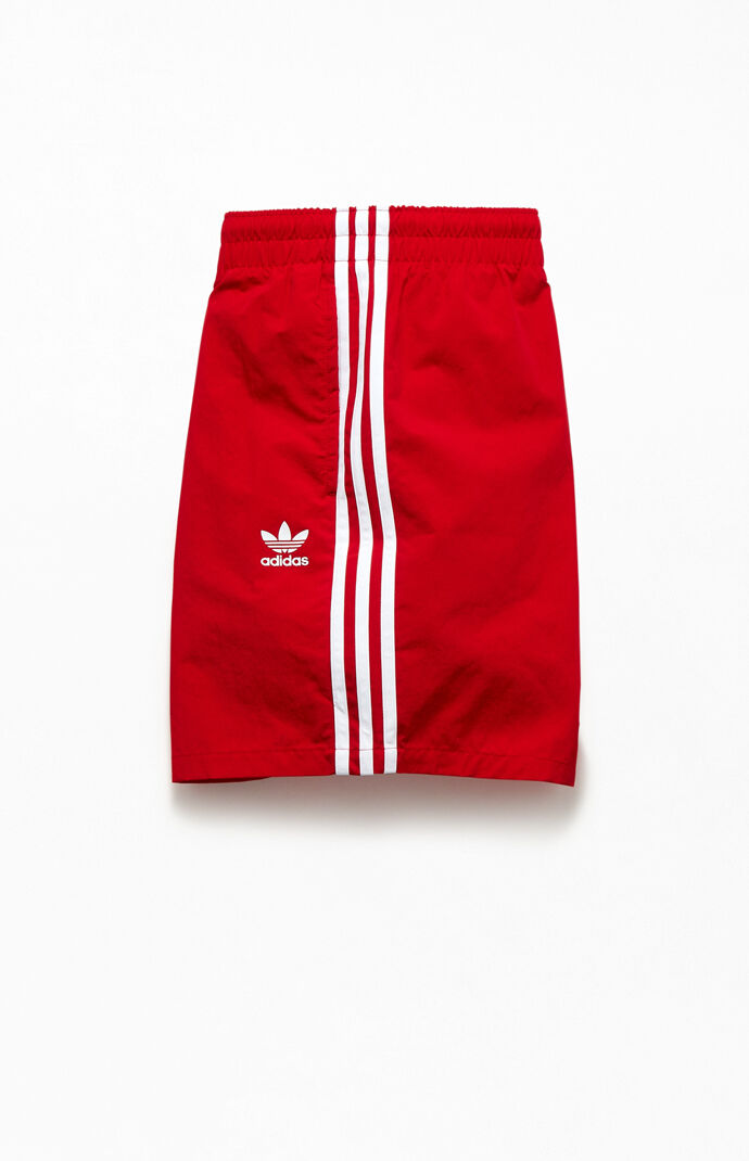 "Recycled Red 3-Stripes 16"" Swim Trunks"