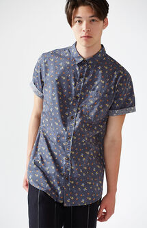 Ditsy Flowers Short Sleeve Button Up Shirt