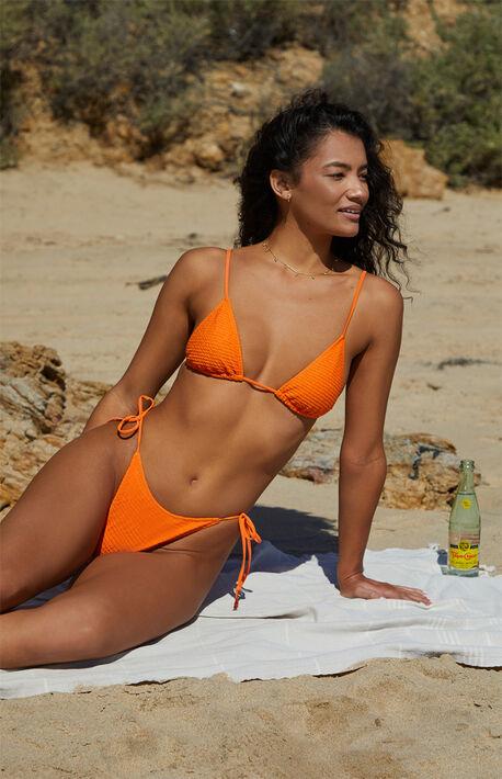 Eco Orange Kinga Scrunch Triangle Bikini Top