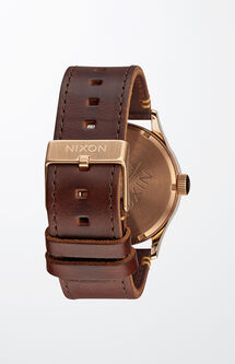 Sentry Leather Rose Gold & Brown Watch