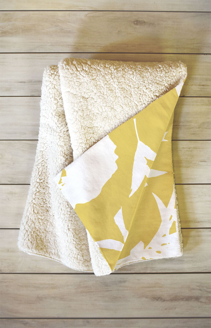 Peony Silhouettes Harvest Fleece Throw Blanket