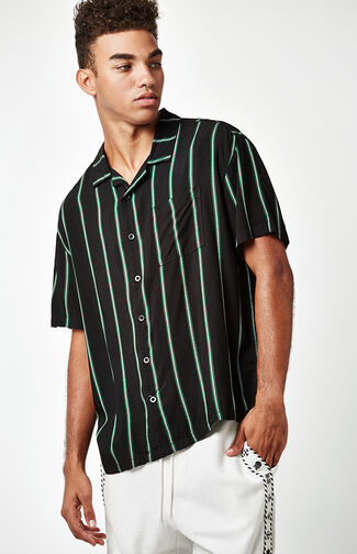 Striped Short Sleeve Button Up Camp Shirt