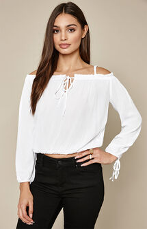 Long Sleeve Keyhole Off-The-Shoulder Top