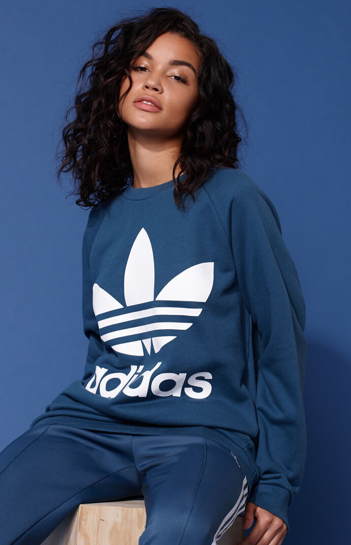 adidas Womens Adicolor Blue Oversized Sweatshirt - Turquoise 7227879