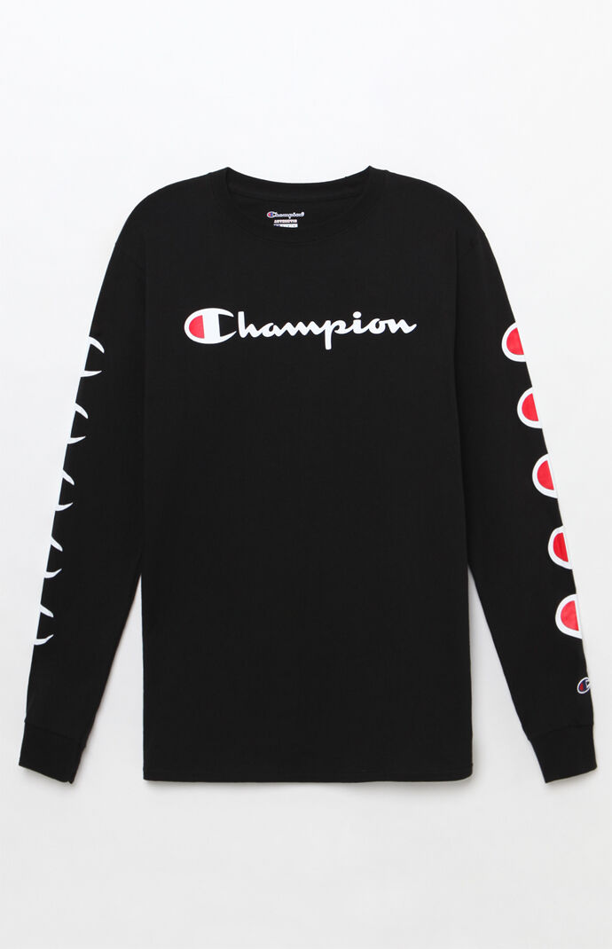 Champion Mens Repeat Long Sleeve T-Shirt - Black 7846025