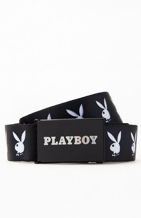 x Playboy Black & White Repeat Bunny Belt