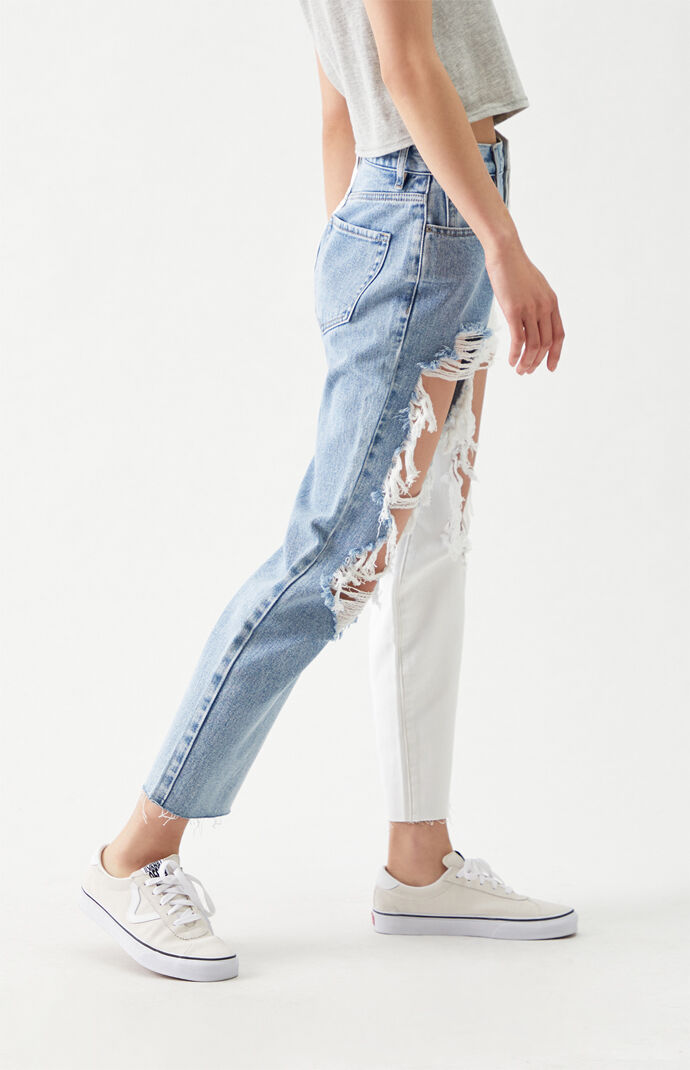 Two-Tone Distressed High Waisted Straight Leg Jeans