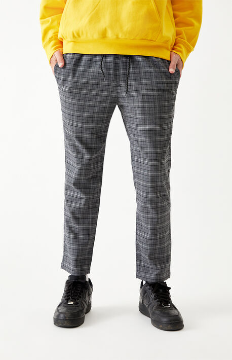 Gray Plaid Menswear Trouser Pants