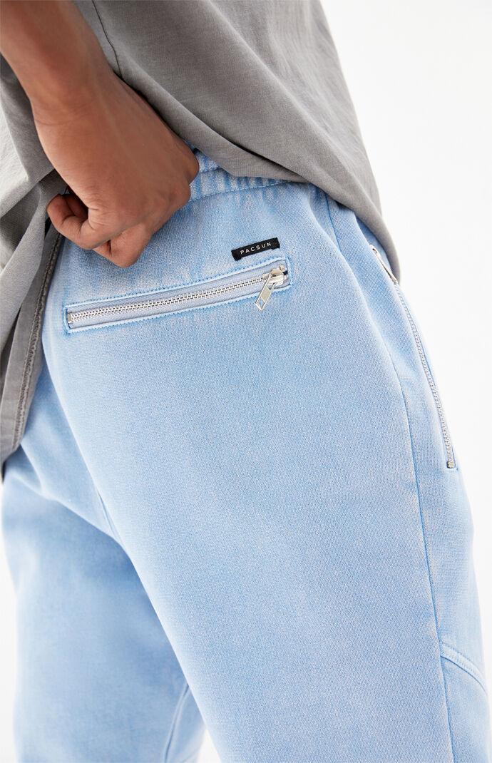 Blue Paneled Fleece Jogger Pants