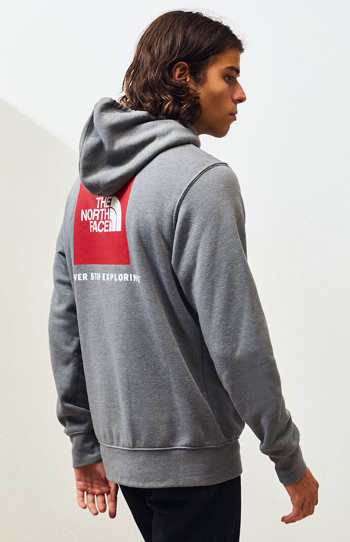 Heather Grey Red Box Pullover Hoodie