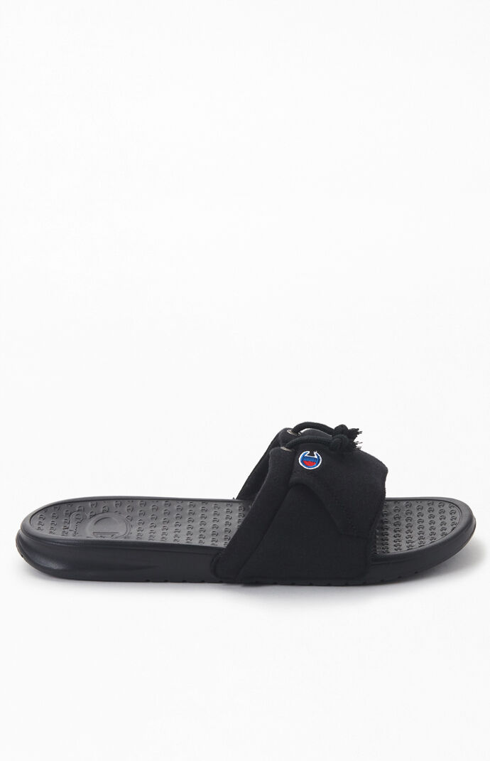 Black University Super Slide Sandals