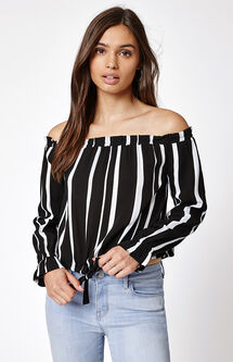 Drawstring Off-The-Shoulder Top