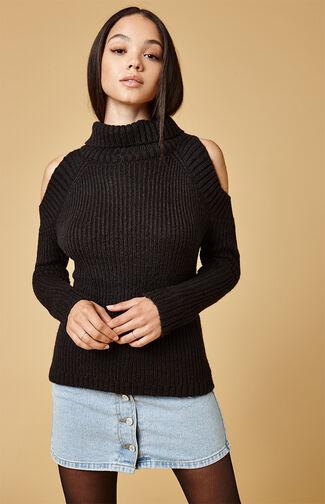 Tatiana Cold Shoulder Turtleneck Sweater