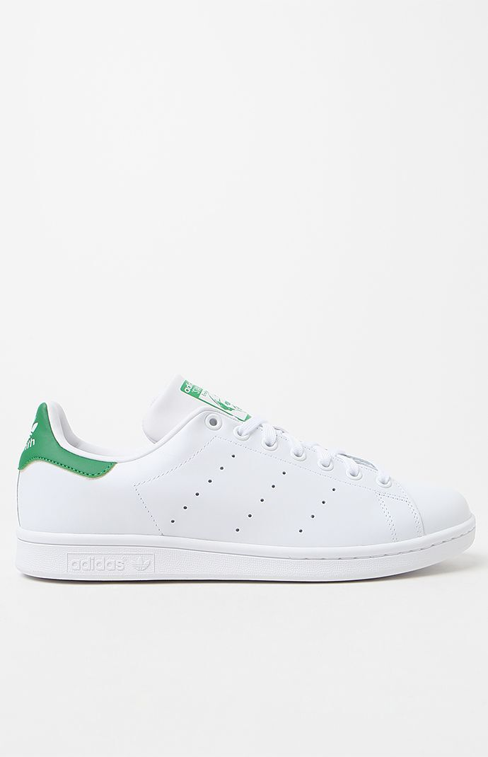 uk availability c8985 718fe adidas White and Green Stan Smith Shoes | PacSun