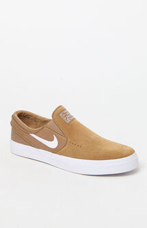 Zoom Stefan Janoski Slip-On Suede Tan Shoes
