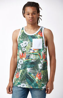 Tropical Print Pocket Tank Top