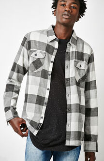 Box Plaid Flannel Long Sleeve Button Up Shirt