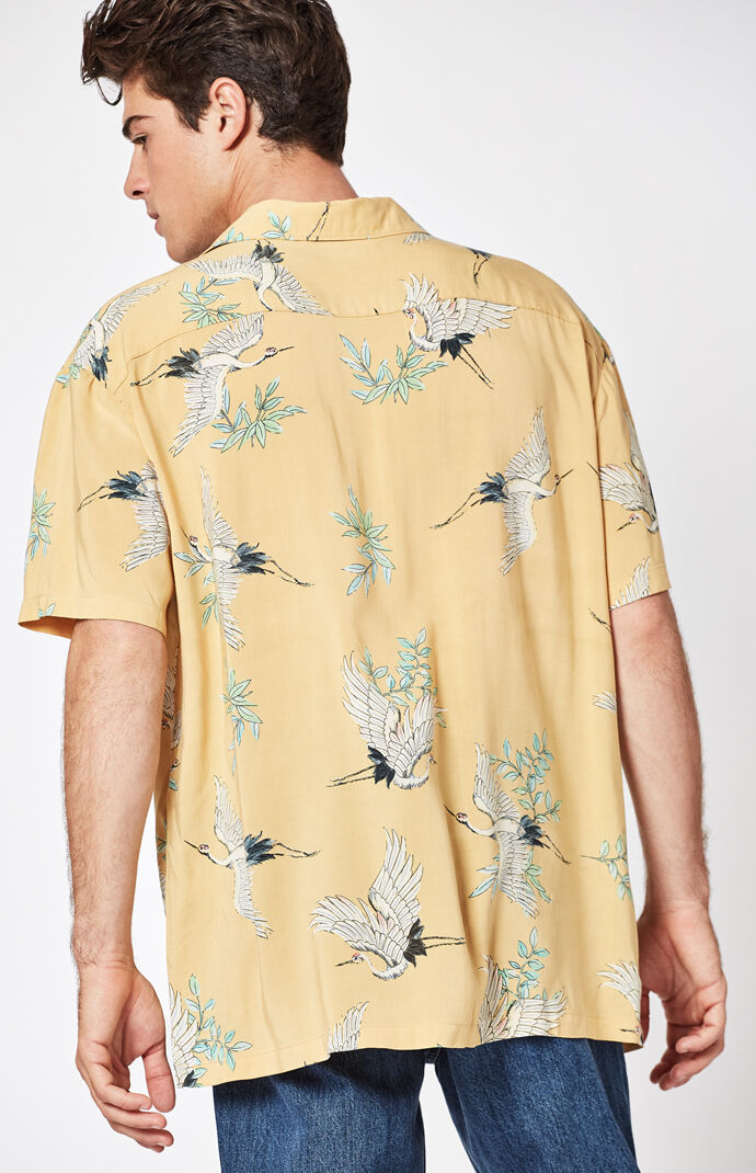Pacsun swans short sleeve button up camp shirt at for Mens short sleeve camp shirts