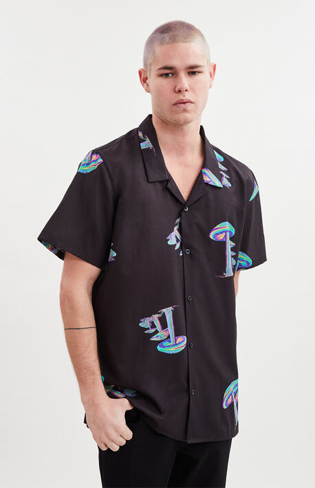 Mushroom Short Sleeve Button Up Shirt