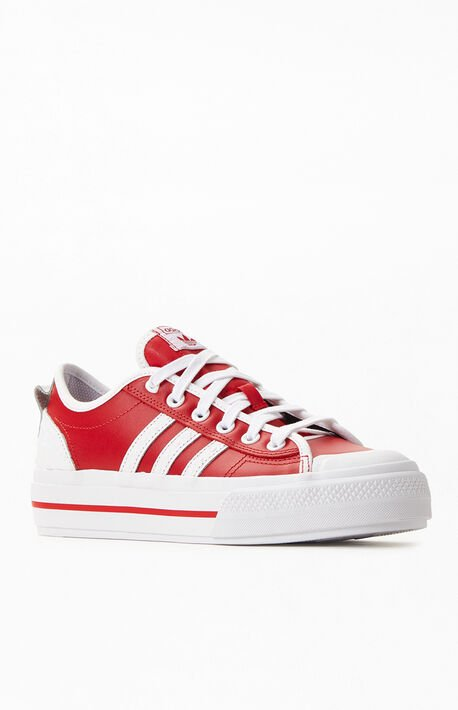 Red & White Nizza RF Platform Sneakers