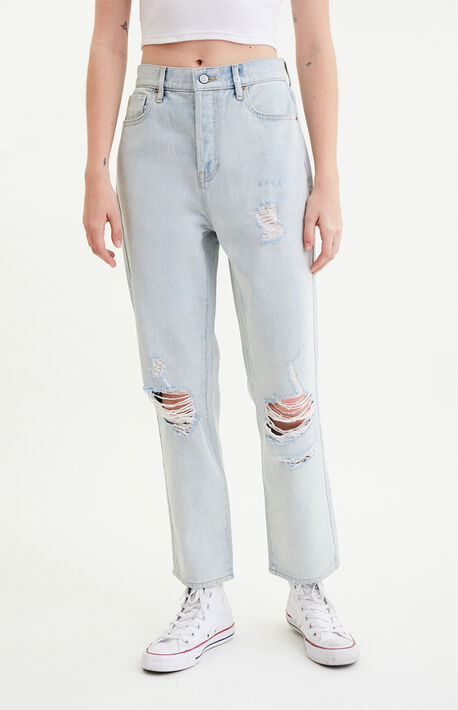 Bart Blue High Waisted Straight Leg Jeans