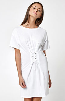 Lace-Up Corset T-Shirt Dress