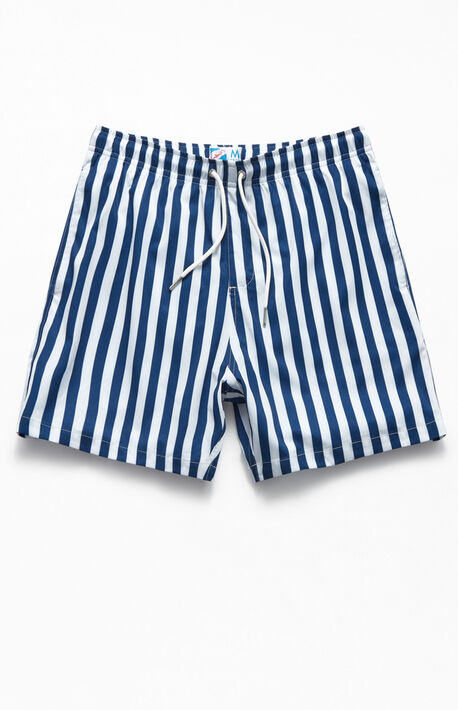 "Navy Stripes 17"" Volley Swim Trunks"