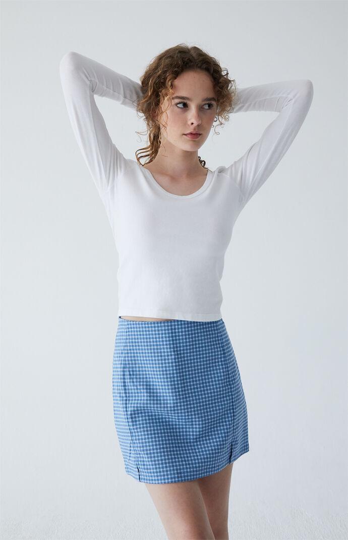 Ocean Blue Plaid Cara Skirt